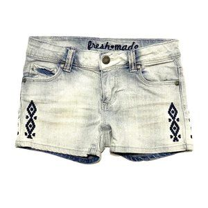 Bleached Wash Ethnic Pattern Jean Shorts